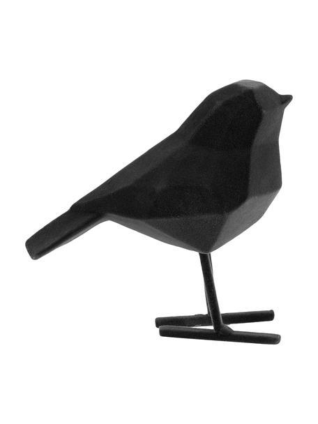 Decoratief object Bird met fluwelen oppervlak, Polyresin, Zwart, 17 x 14 cm