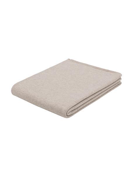 Coperta in cashmere beige finemente lavorato Viviana, 70% cashmere, 30% lana merino, Beige, Larg. 130 x Lung. 170 cm