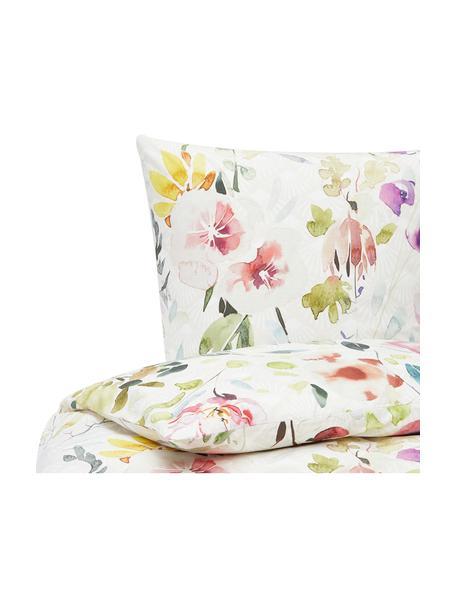 Baumwollperkal-Bettwäsche Edila mit Blumenmotiv in Bunt, Webart: Perkal Perkal ist ein fei, Weiß, Mehrfarbig, 155 x 220 cm + 1 Kissen 80 x 80 cm
