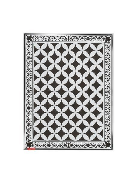 Flache Vinyl-Bodenmatte Chadi in Schwarz/Weiß, rutschfest, Vinyl, recycelbar, Schwarz, Weiß, 65 x 85 cm