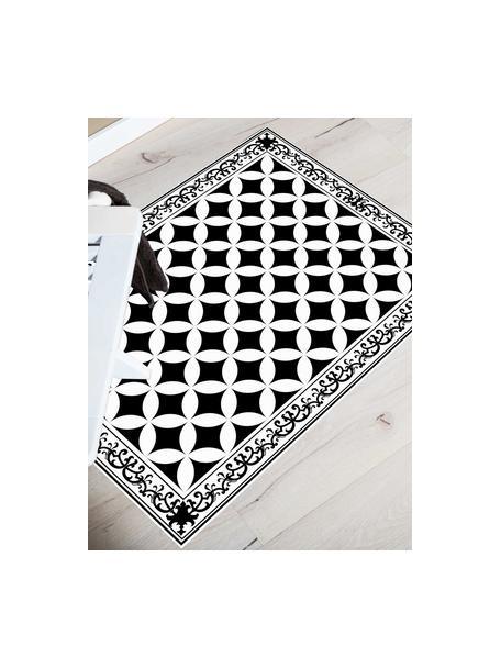 Tappetino antiscivolo nero/bianco in vinile Chadi, Vinile riciclabile, Nero, bianco, Larg. 65 x Lung. 85 cm