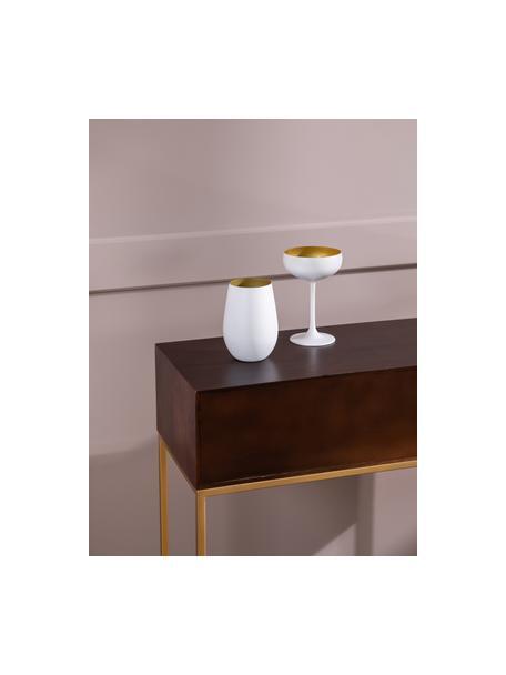 Kristallen champagneglazen Elements in wit/goudkleur, 6 stuks, Kristalglas, gecoat, Wit, messingkleurig, Ø 10 x H 15 cm