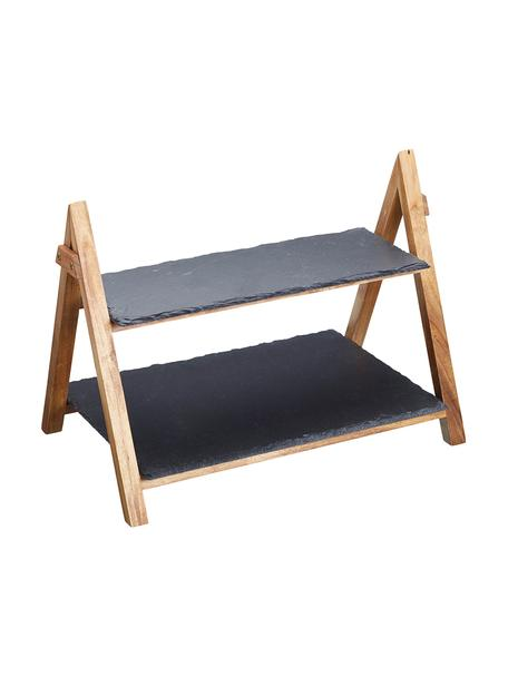 Etagère Dark met leistenen plateaus, Frame: hout, Plateaus: leisteen, Antraciet, houtkleurig, 40 x 34 cm
