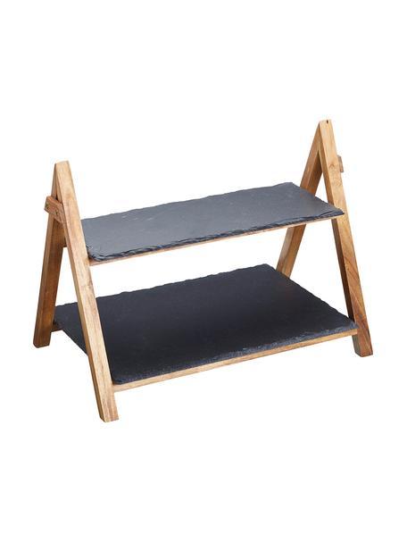 Fuente 2 pisos de pizarra Dark, Estructura: madera, Estantes: pizarra, Gris antracita, madera, An 40 x Al 34 cm