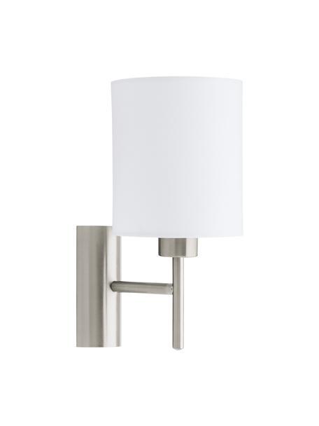 Wandlamp Mick, Lampenkap: textiel, Frame: vernikkeld metaal, Wit, zilverkleurig, Ø 15 x H 31 cm