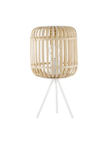 Driepoot tafellamp Adam van bamboehout, Lampenkap: bamboe, Lampvoet: gepoedercoat metaal, Wit, beige, Ø 21 x H 42 cm