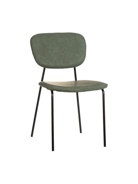 Krzesło tapicerowane ze sztucznej skóry Iskia, Tapicerka: sztuczna skóra (95% polie, Stelaż: płyta wiórowa, Nogi: metal, Zielony, czarny, S 54 x G 49 cm