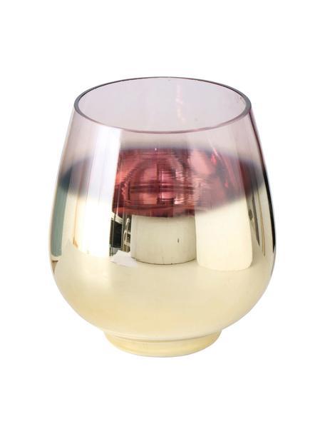 Windlicht Grazia, Gelakt glas, Messingkleurig, Ø 13 cm