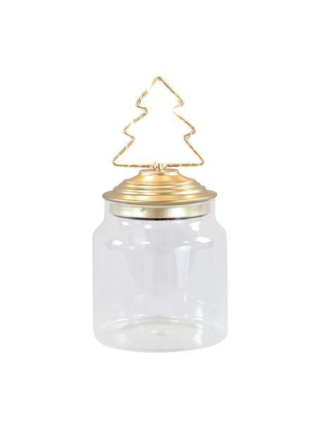 LED Aufbewahrungsdose Tree H 15 cm, Dose: Glas, Deckel: Metall, beschichtet, Transparent, Goldfarben, Ø 11 x H 15 cm