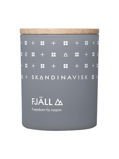 Geurkaars Fjäll (heidekruid, tijm, bessen), Houder: glas, Deksel: berkenhout, Doos: karton, Grijsblauw, 6 x 8 cm
