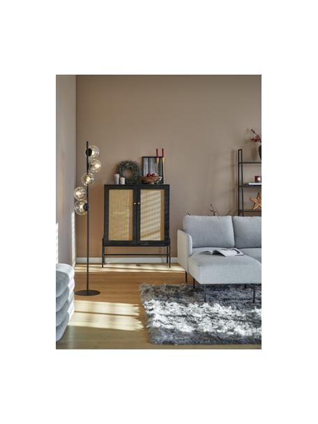 Dressoir Vienna met Weens vlechtwerk, Frame: gelakt massief mangohout,, Poten: gepoedercoat metaal Bambo, Zwart, 100 x 120 cm