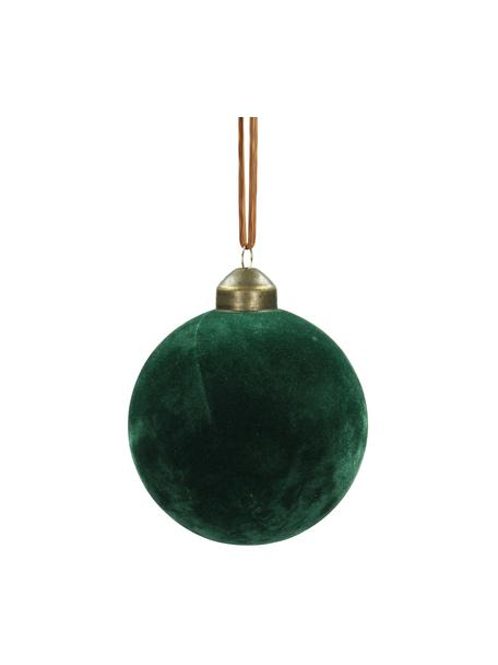 Samt-Weihnachtskugeln Velvet Ø8cm, 4Stück, Tannengrün, Ø 8 cm