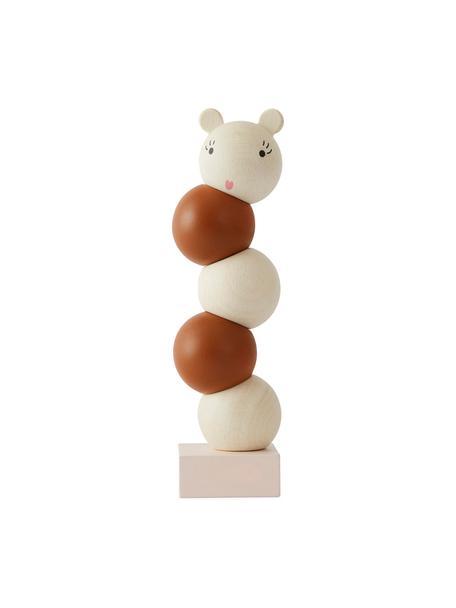 Grote stapelspeelgoed Lala van beukenhout., Gecoat beukenhout, Bruin, crèmekleurig, Ø 6 x H 23 cm