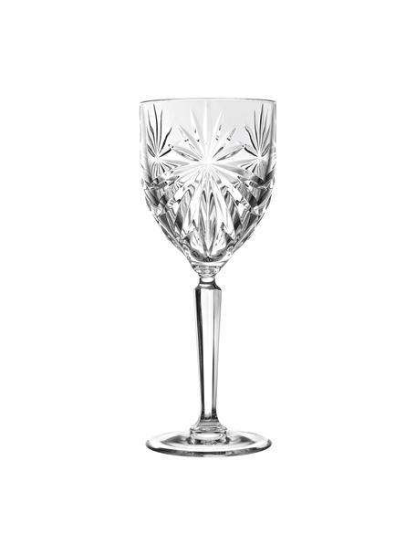 Copas de vino blanco de cristal con relieve Oasis, 6uds., CristalLuxion, Transparente, Ø 8 x Al 19 cm