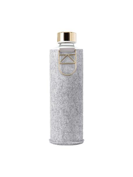 Botella Mismatch, Botella: vidrio borosilicato, Funda: fieltro de poliéster, Gris, transparente, dorado, Ø 8 x Al 26 cm