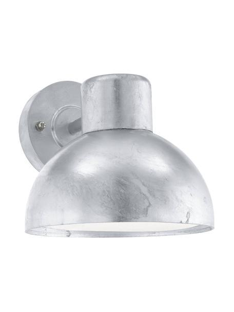Outdoor wandlamp Entrimo in zilverkleur, Lampenkap: verzinkt staal, Diffuser: kunststof, Zinkkleurig, 20 x 19 cm