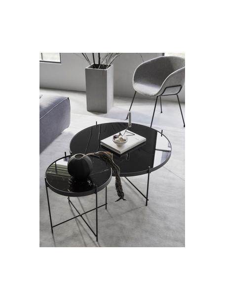 Mesa de centro pequeña Cupid, tablero de cristal, Estructura: metal con pintura en polv, Tablero: vidrio negro, Negro, Ø 63 x Al 40 cm