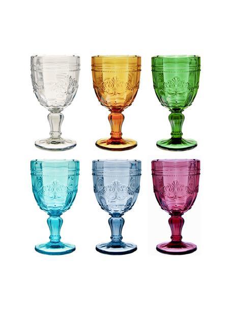 Wijnglazen Syrah met structuurpatroon, 6 stuks, Glas, Roze, blauw, turquoise, groen, geel, grijs, Ø 9 x H 15 cm