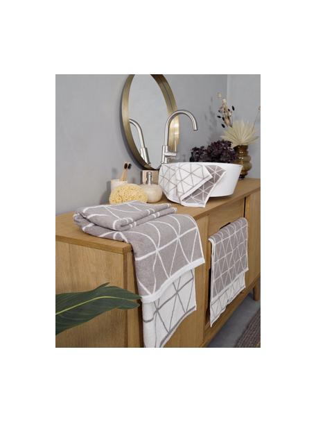 Dubbelzijdige handdoek-set Elina met grafisch patroon, 3-delig, Taupe, crèmewit, Set met verschillende formaten