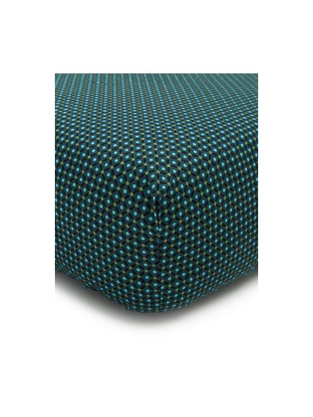 Fein gemustertes Baumwollperkal-Spannbettlaken Cross Stitch, Webart: Perkal Fadendichte 200 TC, Dunkelgrün, Grün, Blau, 90 x 200 cm