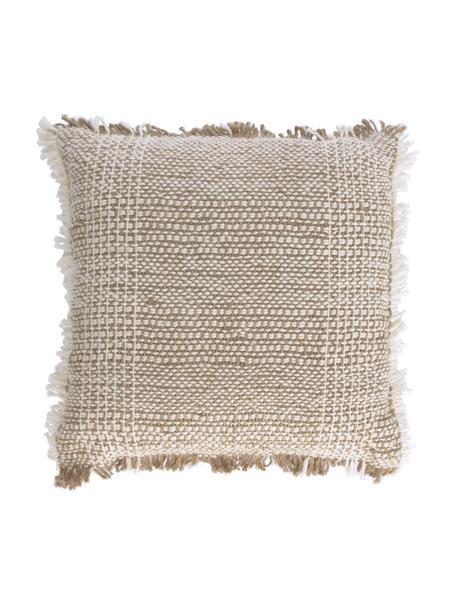Federa arredo con superfice strutturata e frange Ami, 100% cotone, Beige, Larg. 45 x Lung. 45 cm