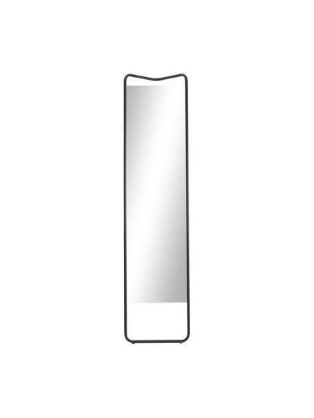 Rechthoekige scheve spiegel Kasch met zwart aluminium frame, Frame: gepoedercoat aluminium, Zwart, 42 x 175 cm