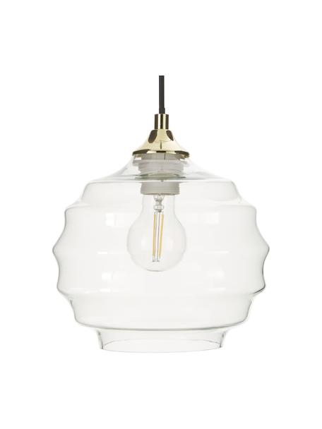 Kleine hanglamp Irina van geribbeld glas, Lampenkap: glas, Baldakijn: gegalvaniseerd metaal, Decoratie: gegalvaniseerd metaal, Goudkleurig, transparant, Ø 22 x H 19 cm