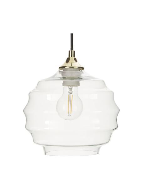Lampada a sospensione in vetro ondulato Irina, Paralume: vetro, Baldacchino: metallo verniciato a polv, Oro, trasparente, Ø 22 x Alt. 19 cm