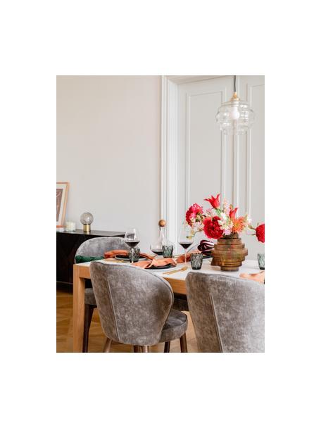 Kleine Pendelleuchte Irina aus gewelltem Glas, Lampenschirm: Glas, Baldachin: Metall, galvanisiert, Dekor: Metall, galvanisiert, Gold,Transparent, Ø 22 x H 19 cm