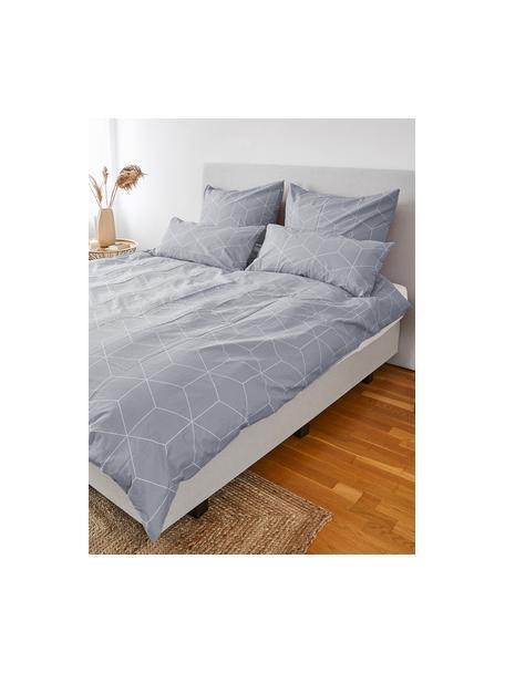 Funda de almohada de algodón Lynn, 45x110cm, Gris, blanco crema, An 45 x L 110 cm