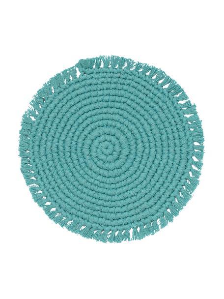 Ronde placemat Vera van katoen met franjes, 100% katoen, Turquoise, Ø 38 cm