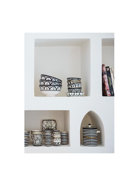 Insalatiera fatta a mano stile marocchino con dettagli dorati Couleur, Ø 25 cm, Ceramica, Nero, crema, oro, Ø 25 x Alt. 12 cm