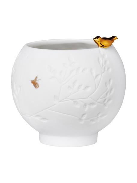 Portalumino in porcellana bianca Golden Bird, Porcellana, Bianco, dorato, Ø 7 x Alt. 7 cm