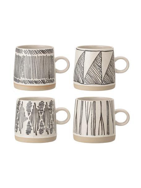 Koffiemokkenset Eliana van keramiek, 4-delig, Keramiek, Crèmekleurig, zwart, beige, Ø 9 x H 9 cm
