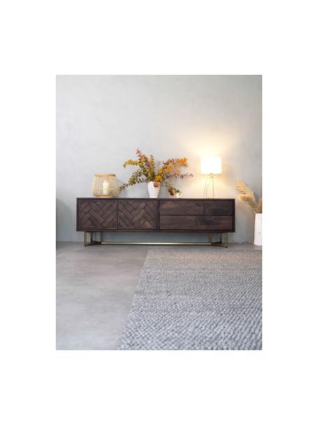 Aparador de madera maciza Luca, Estructura: madera de mango maciza, Patas: metal recubierto, Marrón, dorado, An 180 x Al 54 cm