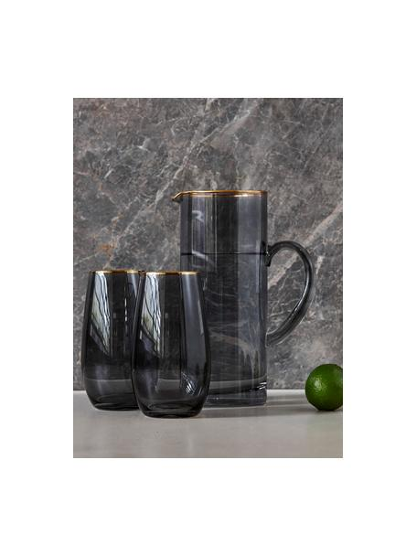 Krug Chloe in Graublau mit Goldrand, 1.6 L, Glas, Graublau, H 25 cm