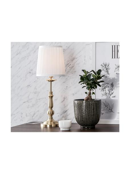Tafellamp Imperia in messing, Lampenkap: polyester, Lampvoet: vermessingd metaal, Wit, messingkleurig, Ø 18 x H 49 cm