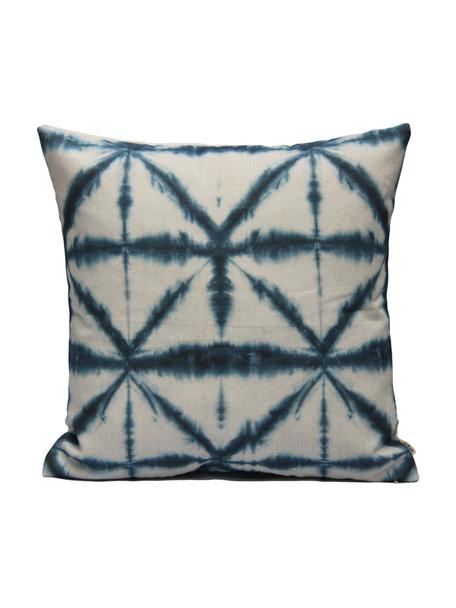 Kissenhülle Hanna mit Batikprint, 100% Baumwolle, Weiß, Blau, 40 x 40 cm