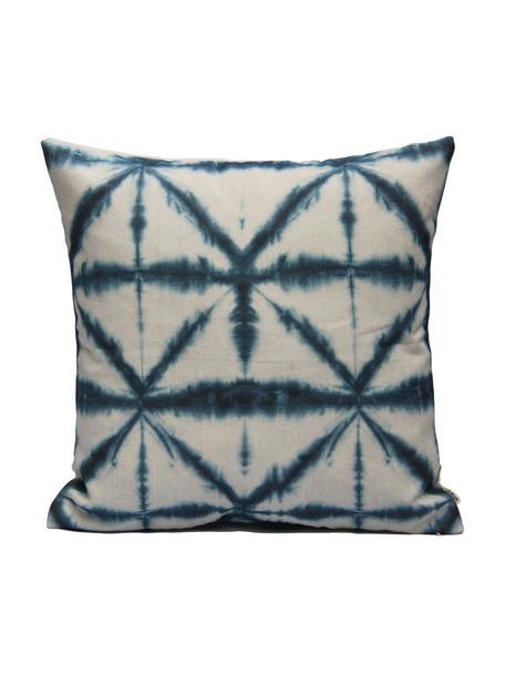 Kussenhoes Hanna met batik print, Katoen, Wit, blauw, 40 x 40 cm
