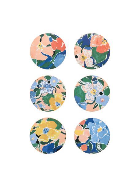Set 6 sottobicchieri in sughero Margaret, Sughero rivestito, Multicolore, Ø 10 cm