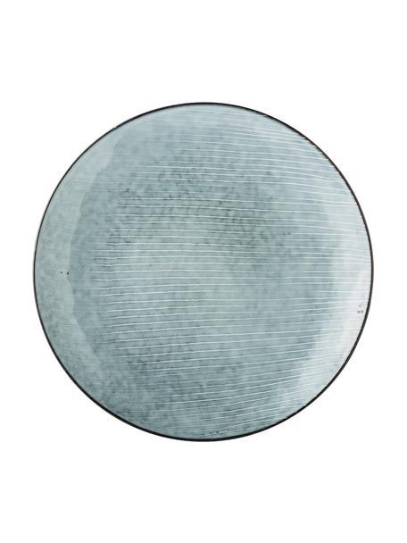 Handgemachte Platzteller Nordic Sea aus Steingut, 4 Stück, Steingut, Grau- und Blautöne, Ø 31 cm