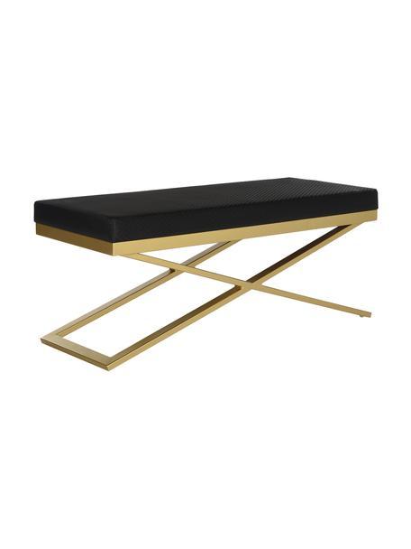 Banco de cuero sintético Susan, Estructura: acero, pintado, Tapizado: cuero sintético (poliuret, Negro, dorado, An 109 x Al 46 cm