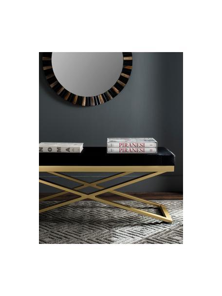 Kunstleren zitbank Susan, Frame: gelakt staal, Bekleding: kunstleer (polyurethaan) , Zwart, goudkleurig, 109 x 46 cm