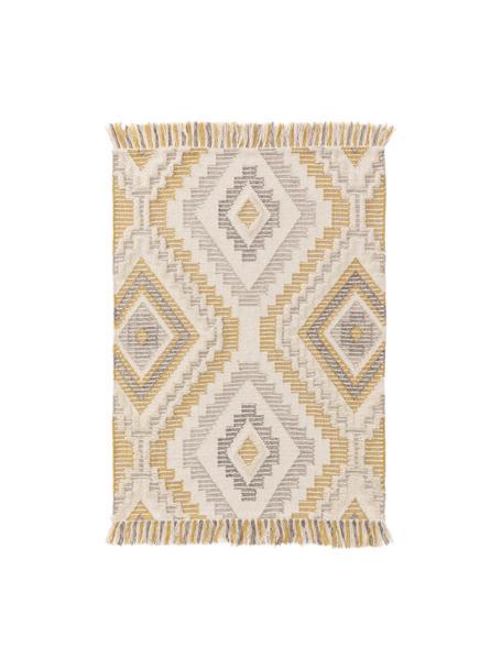 Dywan z wełny z wypukłym wzorem Wanda, 70% wełna, 30% akryl  Włókna dywanów wełnianych mogą nieznacznie rozluźniać się w pierwszych tygodniach użytkowania, co ustępuje po pewnym czasie, Żółty, szary, kremowy, S 80 x D 120 cm (Rozmiar XS)