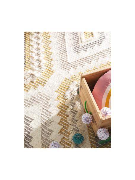 Boho wollen vloerkleed Wanda met hoog-laag structuur en franjes, 70% wol, 30% polyester Bij wollen vloerkleden kunnen vezels loskomen in de eerste weken van gebruik, dit neemt af door dagelijks gebruik en pluizen wordt verminderd., Geel, grijs, crèmekleurig, B 80 x L 120 cm (maat XS)