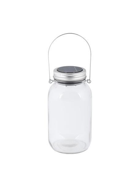 Farolillo solar LED Bianca, Recipiente: vidrio, Asa: metal galvanizado, Transparente, Ø 10 x Al 18 cm