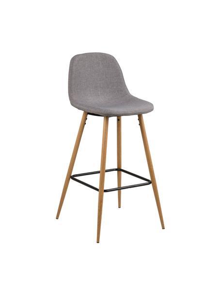 Krzesło barowe  Wilma, Nogi: metal z dekorem drewna dę, Tapicerka: poliester, Nogi: drewno dębowe Podpora: czarny Tapicerka: jasny szary, S 47 x W 101 cm