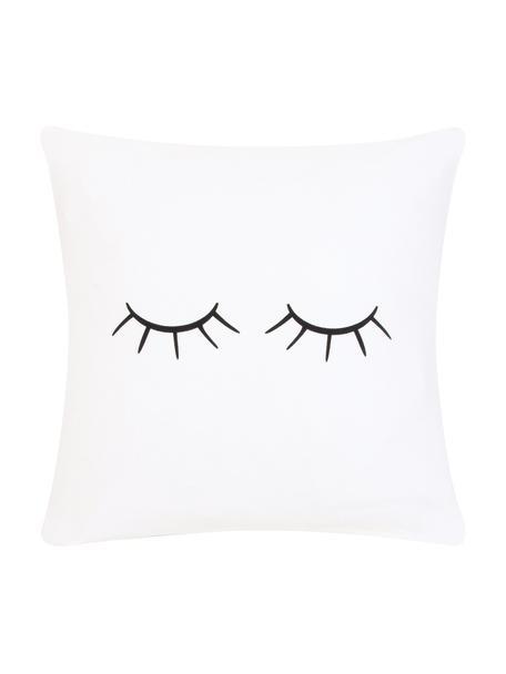 Kussenhoes Sleepy Eyes, Weeftechniek: panama, Wit, zwart, 40 x 40 cm