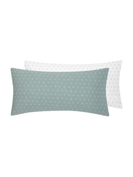 Dwustronna poszewka na poduszkę z flaneli Betty, 2 szt., Szałwiowy zielony, biały, S 40 x D 80 cm