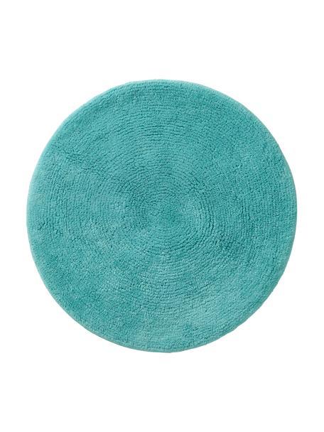 Ronde badmat Emma in turquoise, 100% katoen, Turquoise, Ø 90 cm